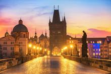 Colorful Morning View Of Charles Bridge - Prague