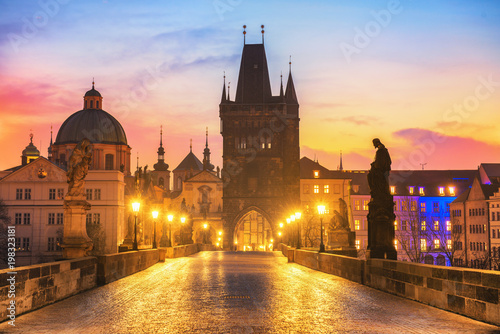 Leinwand Poster Colorful Morning View of Charles Bridge - Prague