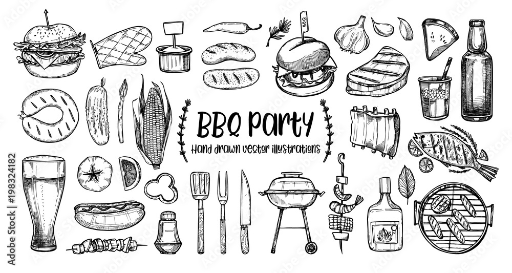 Fototapety, obrazy: Hand drawn vector illustrations. BBQ collection. Barbeque design elements in sketch style. Fast food.  Perfect for menu, prints, packing, leaflets, advertising