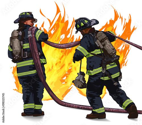 Fotografie, Obraz Firefighters