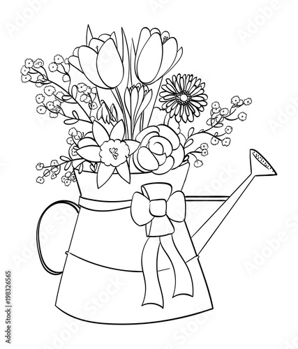 Spring flower arrangement in a watering can outline buy this spring flower arrangement in a watering can outline mightylinksfo