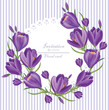 Crocus ultra violet flowers wreath Vector. Spring backgrounds