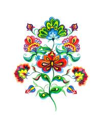 Slavic folk art flowers. Watercolor fairy motif - Eastern european hand crafted floral ornament