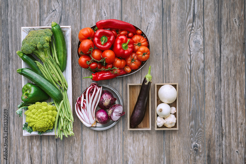 Fresh vegetables on the kitchen worktop Poster