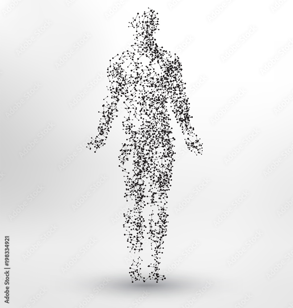 Fototapeta Abstract Molecule based human figure concept - Illustration of a human body made of dots and lines