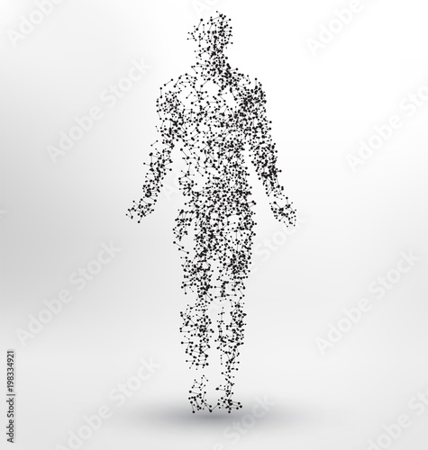 Fotografia Abstract Molecule based human figure concept - Illustration of a human body made