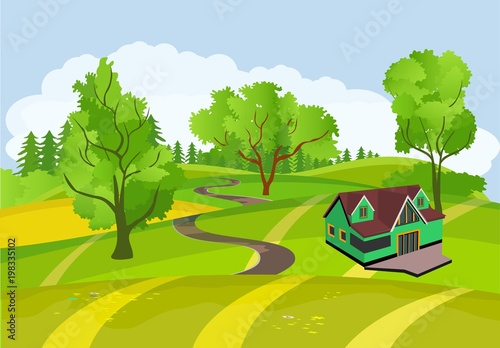 Staande foto Pistache Countryside view vector illustration, isometric house in the green hills, outdoor concept, nature landscape