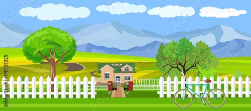 In de dag Lime groen Countryside view vector illustration, house in the green hills, outdoor concept, nature landscape