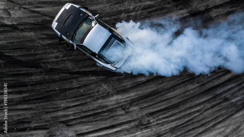Top view drifting car, Aerial view professional driver drifting car on race track Canvas-taulu
