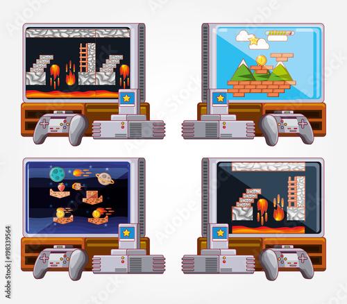 Fototapeta video game set icons obraz na płótnie