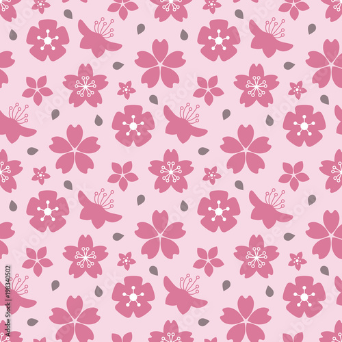 Foto op Canvas Bloemen Pink blossom flowers seamless pattern design