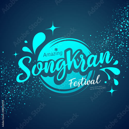 Fotografija Vector Amazing Songkran festival logo water splash on blue background, illustrat