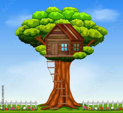 Illustration of a tree house Wallpaper Mural