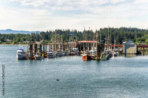 Fishing Harbour with on a Cloudy Summer Morning. Sooke, Bc, Canada.