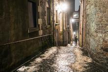 Narrow Downhill Stairway In Old Town Edinburgh On A Winter Night
