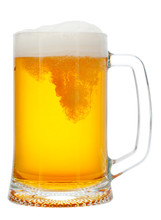 Cold Mug Of Beer With Foam Iso...