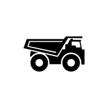 Dump Truck. Flat Vector Icon. ...
