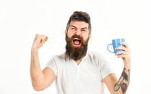 Hipster With Beard Holds Mug, ...