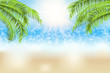 Blurred, defocused sea beach background, with palms, sunhine and bokeh. Vector illustration.