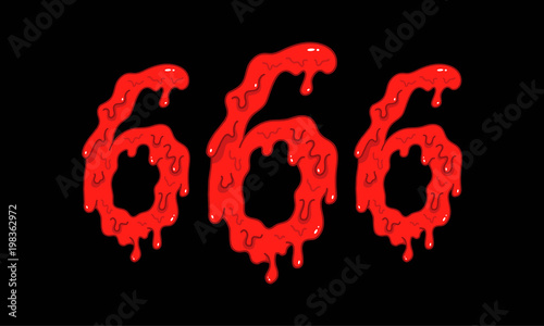 Cartoon illustration of the bloody numbers 666 on black background Canvas Print