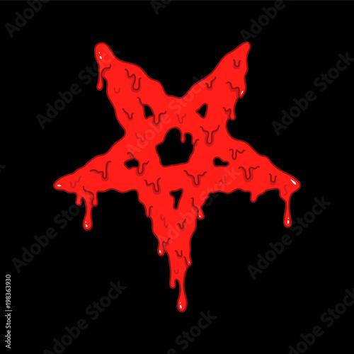 Cartoon illustration of the bloody pentagram symbol on black background Canvas Print