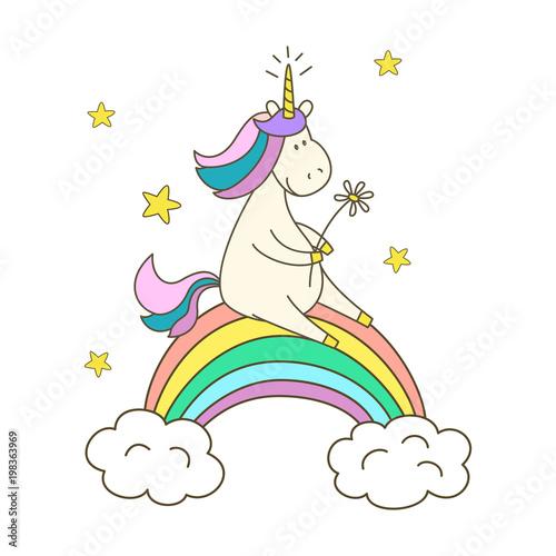 In de dag Regenboog Illustration with cute unicorn on white background.