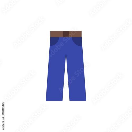 Fotografie, Obraz  jeans, trousers flat vector icon