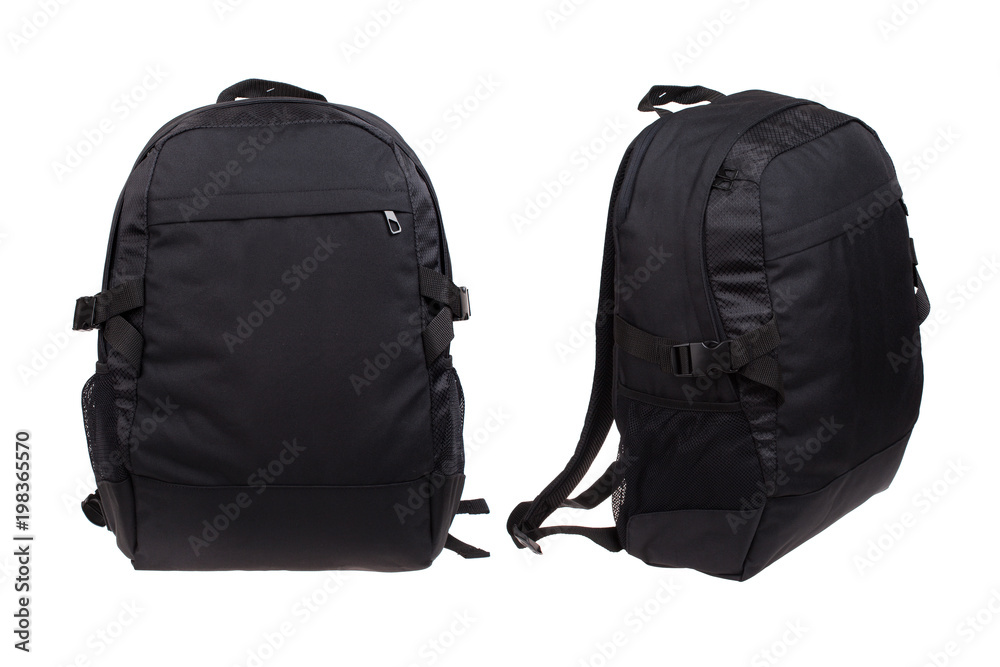 Fototapety, obrazy: two sides of modern black backpack, isolated on white