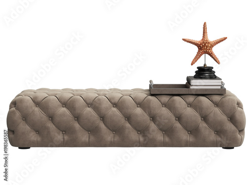 Fotografia  Classic tufted ottoman beige color with decor in tray - sea star,book isolated o