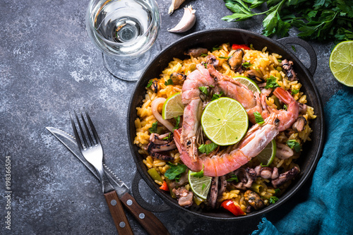 Seafood paella. Traditional spanish dish, top view.