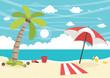 Vector Illustration Of Beach