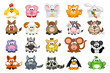 big set cute cartoon triangular animals