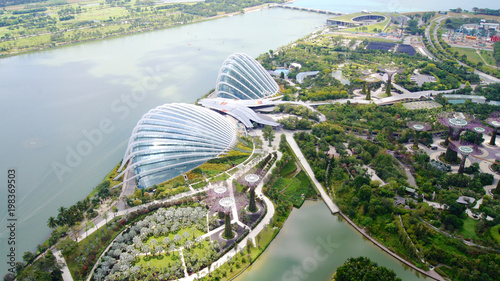 SINGAPORE - APR 2nd 2015: Day view of Cloud Forest Flower Dome at Gardens by the Bay as seen from the skypark Wallpaper Mural