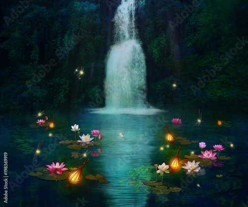 Waterfall and lilies © susanafh