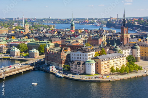 Deurstickers Noord Europa Stockholm old town (Gamla Stan) panorama from City Hall top, Sweden