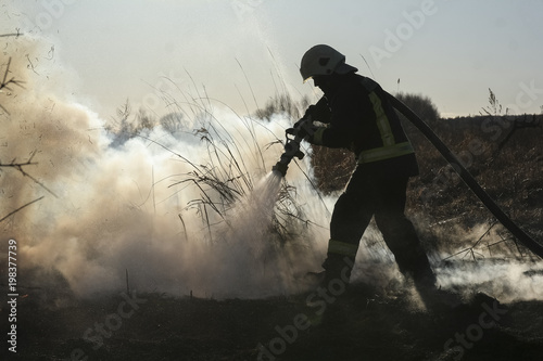 Foto  Firefighters battle a wildfire in spring
