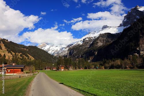 Foto op Aluminium Grijze traf. Kandersteg Resort landscape in Switzerland, Europe