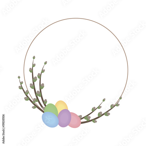 Fototapety, obrazy: cute thin spring wreath with willows and Easter multicolored eggs isolated on white background vector