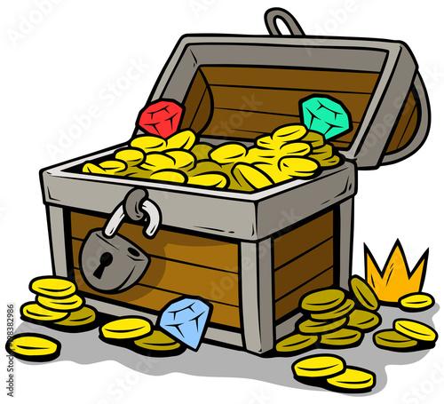 Cuadros en Lienzo Cartoon open treasure chest with gold coins