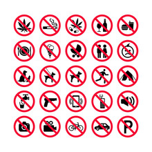 Red Prohibition Icons Set. Pro...