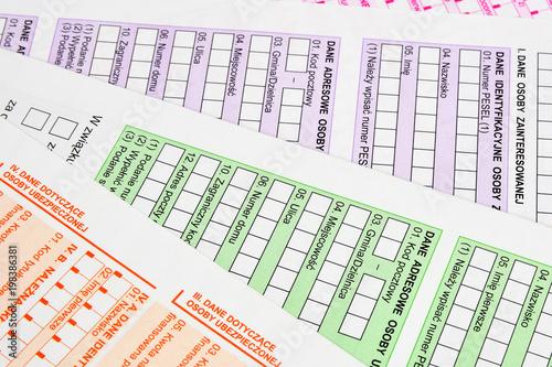 Plakaty do biura rachunkowego kolorowe-formularze-dokumenty-urzedowe