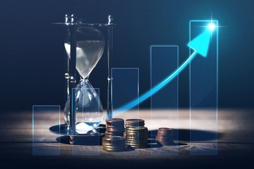 Sand Hourglass and financial illustration