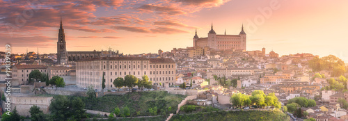 Panoramic aerial view of ancient city of Toledo