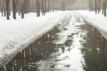Flooding Of Road Due To Snow M...