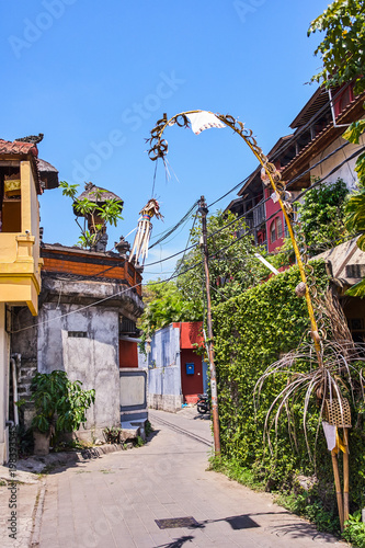 Aluminium Prints Brazil Penjor - Symbol Thanks and Greatness of God view on Kuta streets, Bali, Indonesia