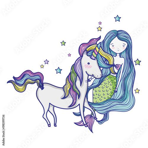 Canvas Prints Fairytale World beauty woman siren with nice unicorn