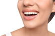 Young woman with beautiful smile on white background, closeup. Teeth whitening