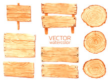 Watercolor Wooden Tablets, Vector Wooden For Design. Decorative Wood Banners Perfect For Card Making, Wedding Invitation And More