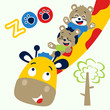 Giraffe and friends cartoon. Eps 10