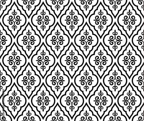 damask pattern black and white Fototapete